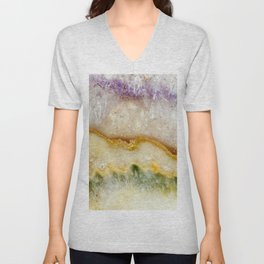 Striated Amethyst in Purple Gold & Green Unisex V-Neck
