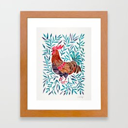 Le Coq – Watercolor Rooster with Turquoise Leaves Framed Art Print