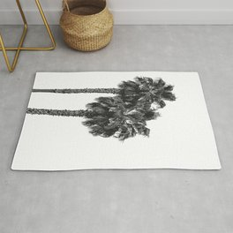 Dos Palmeras // Tropical Black and White Palm Tree Photography California Nature Ocean Vibes Rug