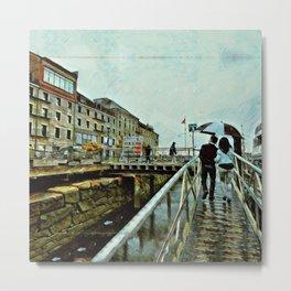 Boston Rain: Exit Gate 3 Metal Print
