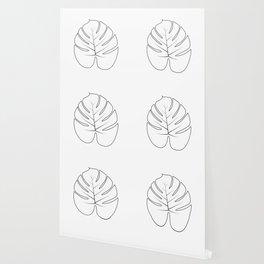 Minimal Drawing of Palm Leaf Wallpaper