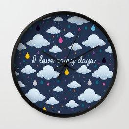 I love Rainy Days Wall Clock
