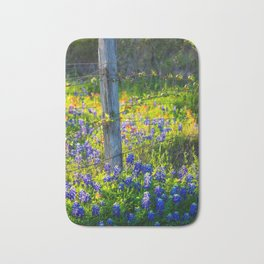 Country Living - Fence Post and Vines Among Bluebonnets and Indian Paintbrush Wildflowers Bath Mat