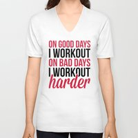 workout V-neck T-shirts featuring Workout Harder Gym Quote by EnvyArt