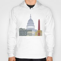 washington dc Hoodies featuring Washington DC skyline poster by Paulrommer