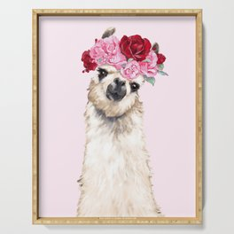 Llama with Pink Roses Flower Crown Serving Tray