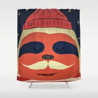 sloth Shower Curtains featuring Sloth by Ross Sinclair