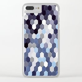 Honeycomb Pattern In Blue Tones Clear iPhone Case