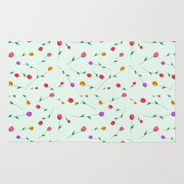 Pattern of tulips. Tulips scattered on the web Rug