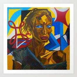 Suspicious Christy Turlington, Artist: Leon 47 / Leon XLVII, Dynamic Portrait Painting, Triangulism Art Print