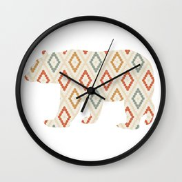 BEAR SILHOUETTE WITH PATTERN Wall Clock