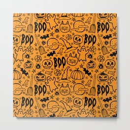 Spooky Pattern - Orange Metal Print