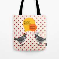 bonjour Tote Bags featuring Bonjour! by Sreetama Ray