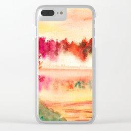 Autumn Landscape Watercolor Clear iPhone Case