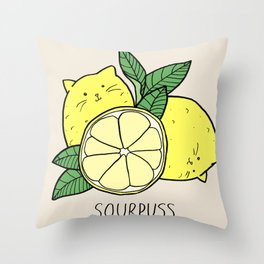 Sourpuss (colourised) Throw Pillow