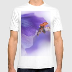 Ladybird on violet Mens Fitted Tee MEDIUM White