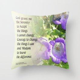 Serenity Prayer Bell Flowers Throw Pillow