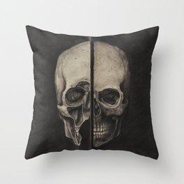 STUDY OF HUMAN SKULL (INSPIRED BY LEONARDO DA VINCI) Throw Pillow