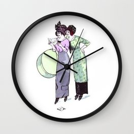 Vintage Flapper Ladies Fashion Green and Purple Wall Clock