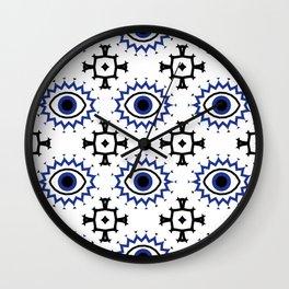 Turkish Eye Moroccan Tiles Pattern Blue Wall Clock