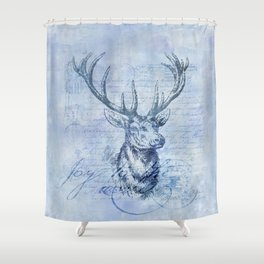 Joy to the world Christmas deer Shower Curtain