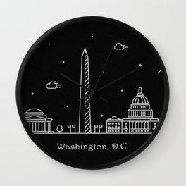 Washington D.C. Minimal Nightscape / Skyline Drawing Wall Clock