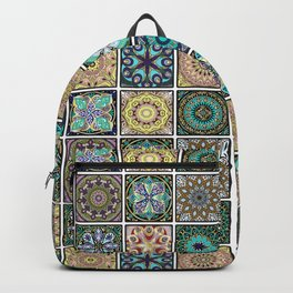 Colorful mandala square pattern Backpack
