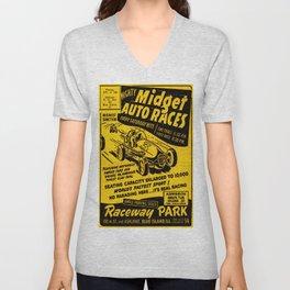 Midget Auto Races, Race poster, vintage poster Unisex V-Neck