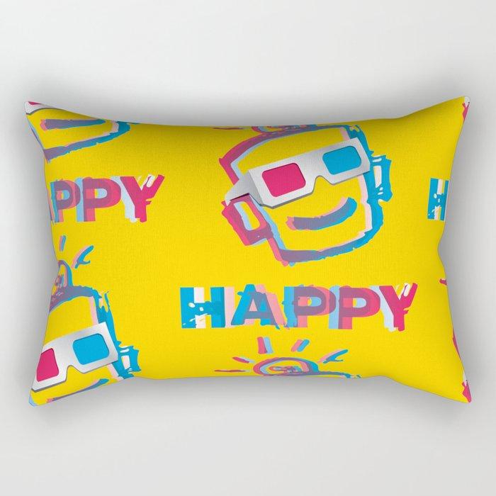 3D HAPPY Rectangular Pillow