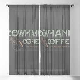 Cowhand Coffee - Vintage Mint & Mauve Sheer Curtain
