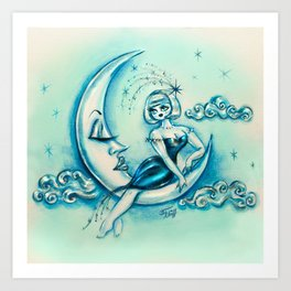 Girl on the Moon Art Print