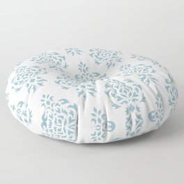 Crest Damask Repeat Pattern Blue on Cream Floor Pillow