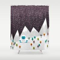 yeti Shower Curtains featuring Yeti by Kakel