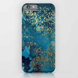 Modern Aqua Blue Ink Wash Gold Grunge Damask Overlay iPhone Case