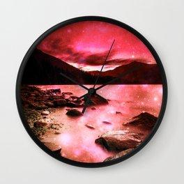 Magical Mountain Lake Red Wall Clock