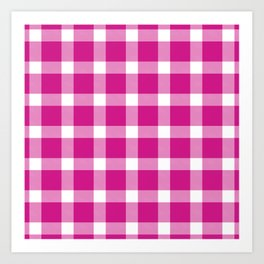 Plaid Hot Pink Art Print