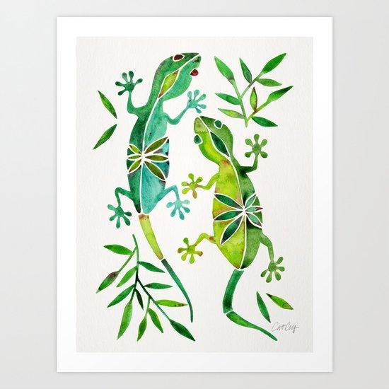 Geckos – Green Palette Art Print