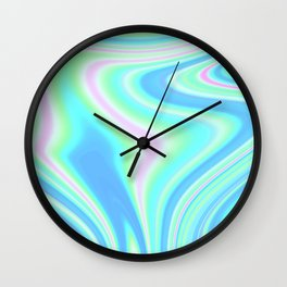 Abstract Holographic Iridescent Wall Clock