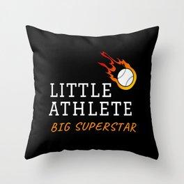 Little athlete big superstar baseball Throw Pillow