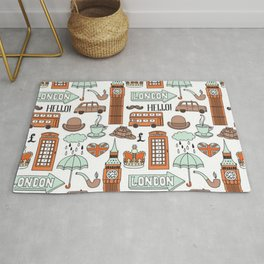 seamless pattern with london elements landmarks Rug