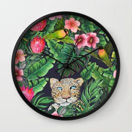 Leopard and tiger jungle floral Wall Clock