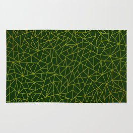 Gold Lowpoly in Green Background Rug
