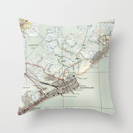 Vintage Map of Atlantic City NJ (1941) Throw Pillow