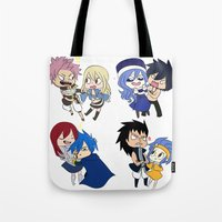 fairy tail Tote Bags featuring Fairy Tail Chibi Couples by Minty Cocoa
