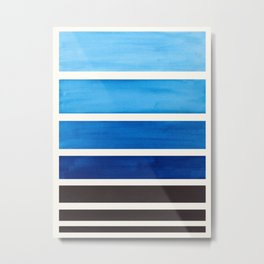 Prussian Blue Minimalist Watercolor Mid Century Staggered Stripes Rothko Color Block Geometric Art Metal Print