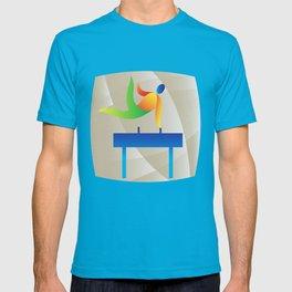 Pommel Horse Gymnastics Square Retro T-shirt