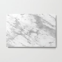 Marble - Silver and White Marble Pattern Metal Print