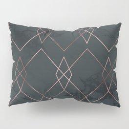 Modern Deco Rose Gold and Marble Geometric Dark Pillow Sham