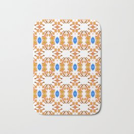 Lush Geometry Series Golden Floral with Sapphire Accent Bath Mat