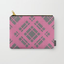 Rose on Grey Plaid Chalk Graphic Design Pattern Carry-All Pouch